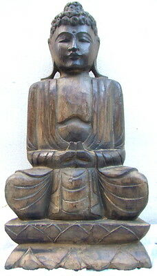 Large hand carved wooden Fairtrade Buddha statue,shabby chic.Garden ornament