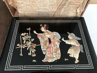 Lovely Early 1900s Postcard Album Chinese/Japanese Lacquered from Hong Kong