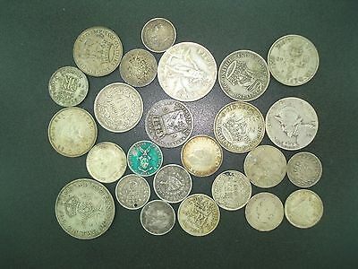 Lot of (25) Mixed World Silver Coins 96.6 Grams **NO RESERVE*