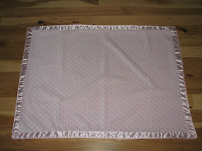 """Crib Clouds Baby Girl Pink Blanket Minky Bump Satin Security Lovey 40"""" X 30"""""""