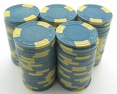 """Set of 100 ASM Casino Style """"A"""" Mold Clay Chips Blue/Yellow Inserts FREE SHIP"""