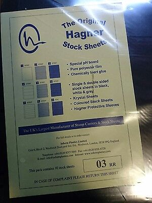 Hagner Stamp Album Sheets Pack of 10 Single Sided - 3 Strips