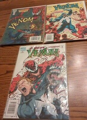 Lot of 3 Venom Comic Books. Carnage Unleashed 1,2 and 3.