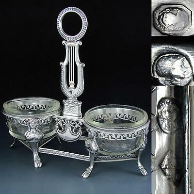 Antique French Sterling Silver Empire Figural Grand Double Salt Cellar, Ambroise