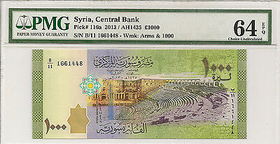 P-116a 2013 1000 Pounds, Syria Central Bank, PMG 64EPQ Nice