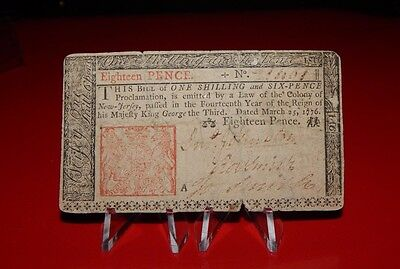 1776 New Jersey Colonial Currency - RARE - 18 pence - circulated