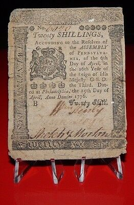 1776 - 20 Shillings - Pennsylvania Colonial Currency - RARE