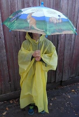 1 X Children's Hooded Yellow Poncho - Rain Cover 5 - 12 Years, Free Post