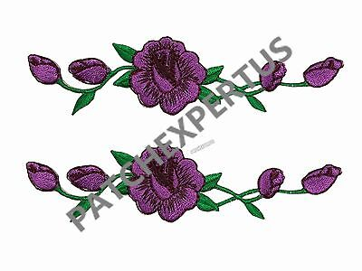 #3965L Lot 2 Pcs Lavender color ,Purple Rose Flower Embroidery Applique Patch