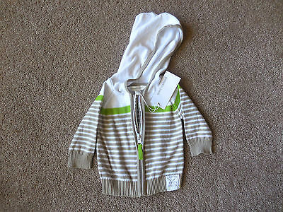 BOYS PUMPKIN PATCH COTTON KNIT HOODED CARDIGAN -SIZE 0-3mths-BRAND NEW WITH TAGS