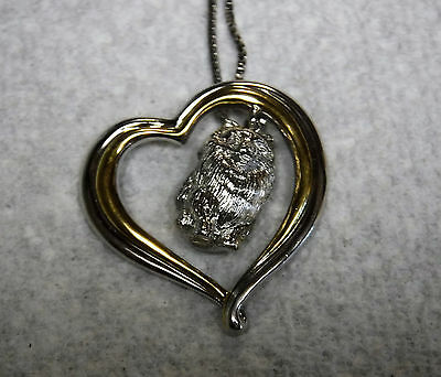 Sterling SIlver Inscribed I love Pomeranians Heart Shaped Paw Print Necklace