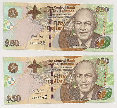P-75A 2012 $50 Dollars, Bahamas Monetary Authority, Almost Uncirculated