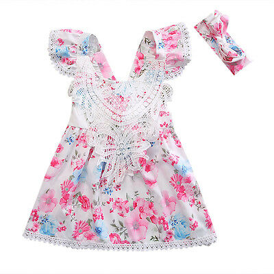 Summer Girls Toddler Princess Dress Kids Baby Party Pageant Floral Clothes US