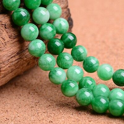 10mm Natural Smooth Jadeite Green Jade Round Gemstone Loose Beads 15'' AAA