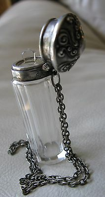 Antique Art Nouveau STERLING SILVER Chrystal Chatelaine Stopper Perfume Bottle
