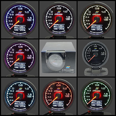 JDM GReddy Turbo Boost/Volt Gauge w Sensor 62mm Multi Digi/Analog 7 ColorDisplay