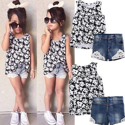 2PCS Toddler Kids Baby Girls T-shirt Tops+Pants/Shorts/Jeans Outfits Clothes Set