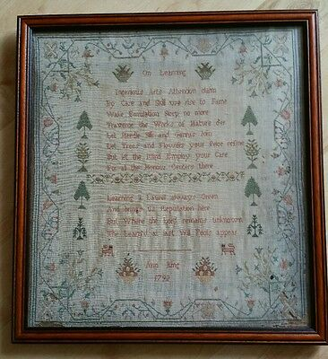 Very Early Georgian Period 18th Century Sampler 1792 Pre Victorian Antique Linen