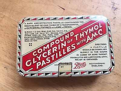 Vintage Boots The Chemist Compound Glycerin of Thymol Pastilles with AMC Tin Box