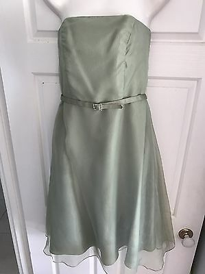 Alfred Angelo Mint Green Strapless Dress - Cocktail Bridesmaid Evening Size 8 S