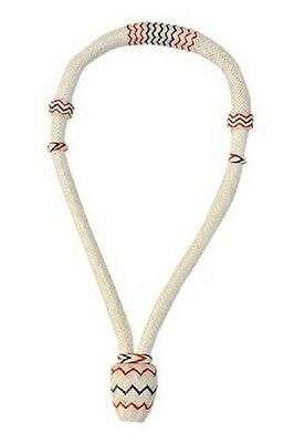 "Western Natural White 5/8"" Rawhide Braided Bosal with Black & Red Accent"
