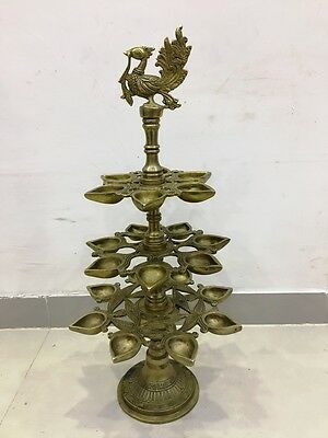 EXTRA LARGE -Vintage Style Traditional BRASS DIYA / LAMP -Peacock type- 22 Inche