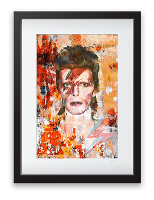 Limited Edition DAVID BOWIE FINE ART Framed, Mounted, Numbered 44cm x 33cm