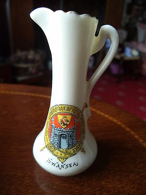 "Vintage Comm Ware Crested Slim Jug/vase ""swansea "" By Willow Art Longton China"