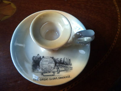 "Vintage Comm Ware Crested Handled Candlestick "" The Great Globe Swanage"""
