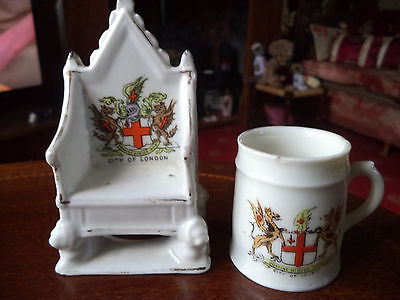 "Two Pieces Of Vintage Comm Ware For The ""city Of London"" - Throne And A Mug"