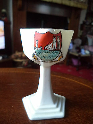 "Vintage Comm Ware Crested Salt Cellar For ""littlehampton"" By W H Goss"