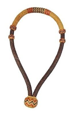 "Western Natural and Brown Rawhide Braided  5/8"" Bosal with Red and Black Accent"