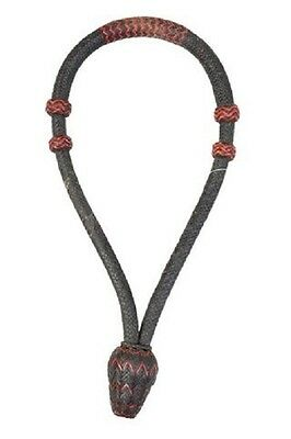"Western Black Rawhide Braided  5/8"" Bosal with Red and Natural Accent"