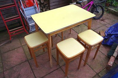 Vintage retro yellow formica kitchen table and four beech stools 1950s 1960s