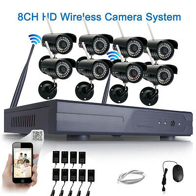 8PCS WIFI HD 720P IP Camera Security System 8CH CCTV NVR Wireless Video Outdoor
