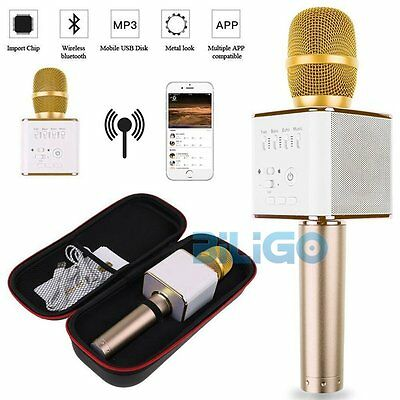 Q9 Mini Bluetooth Wireless Karaoke Microphone Speaker Handheld USB Player Golden