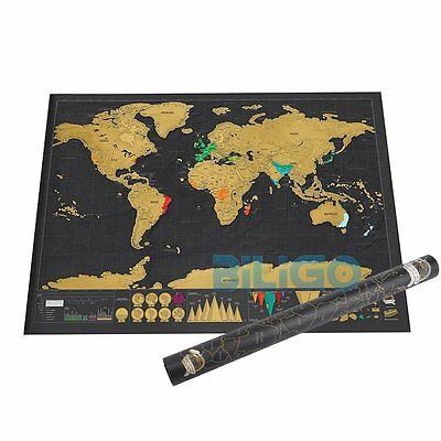 Deluxe Travel Edition Scratch Off World Map Poster Personalized Journal Map【AU】