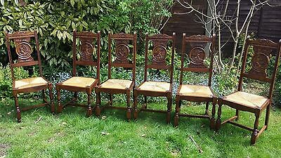 Lovely French set of 6 Breton carved  oak character back dining chairs