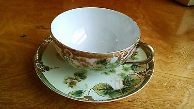 Vintage China Floral Pattern Footed Tea Cup and Saucer - Hand Painted Gold Trim