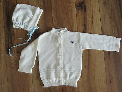 Newport ~ Vintage Baby Sweater & Hat~ White w/Blue Kitty & Ribbon~ Size 3 Months