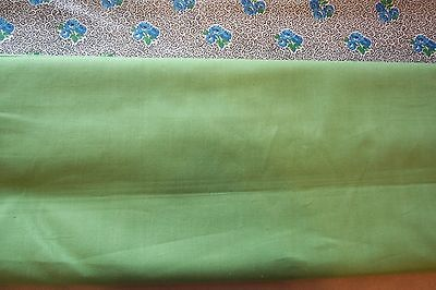 Vtg 40's Cotton Percale Dress Applique Quilt Fabric 35w 36w Solid Green