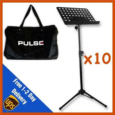 10 x Heavy Duty Orchestral Lectern Conductor Sheet Music Stand Tripod + FREE BAG
