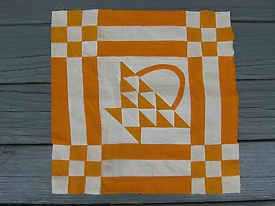Vintage ~ Hand Pieced ~ Orange Basket Quilt Block #2