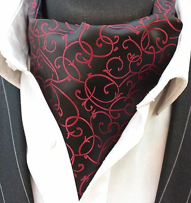 Cravat Ascot Black & Red with matching hanky.