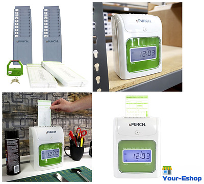 uPunch Employee Punch Time Clock With 100 Cards 2 10 Slot Card Rack Racks Holder