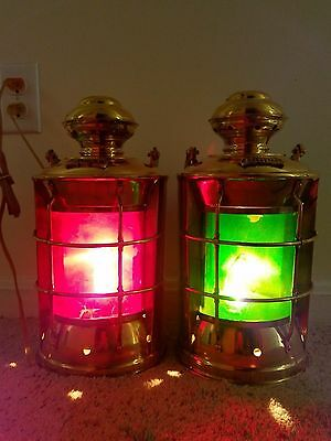 Set of 2 Solid Brass Port and Starboard Bulked Electric  Lanterns