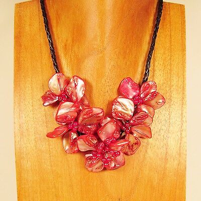 """16"""" Cherry Red Flower Shell and Seed Bead Handmade Necklace Choker"""