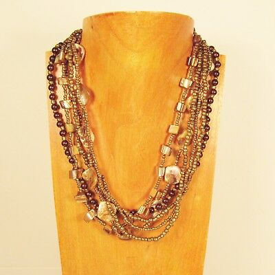 """18"""" Gold Color Mother of Pearl Shell and Handmade Seed Bead Statement Necklace"""