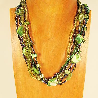 """18"""" Handmade Green Mother of Pearl Shell and Seed Bead Necklace"""