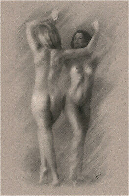Female Nude ORIGINAL ART Charcoal Chalk Drawing naked ladies dancing signed